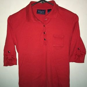 Women's Crazy Horse by LC 3/4 Polo in Red, S